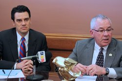 Rep. Kevin Yoder, R-Overland Park, left, and House Speaker Mike O&#39;Neal, R-Hutchinson, were joined by other House GOP leaders in a press conference to describe their budget plan, which they said required no new tax cuts and could be done without &quot;draconian cuts.&quot;