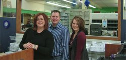 The Brunswigs are a young family of pharmacists who are covering three rural counties in northwest Kansas and providing services to five small-town hospitals. Recruiters wish there were dozens more like them. Pictured left to right are Jena Robertson Brunswig, Jonathan Brunswig, and Jonathan's sister Jenifer Brunswig Nemechek. All earned doctorates in pharmacy at the University of Kansas.