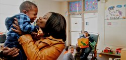 Tamika Sellars, a single parent, shares a moment with her 2-year-old son, Malachi, during a recent visit to the Early Head Start program in Topeka. Gov. Sam Brownback has proposed eliminating state support for the program.
