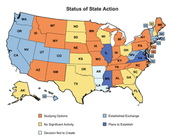 "State action toward creating health insurance exchanges, as of March 1, 2012. Kansas is labeled ""No Significant Activity."""
