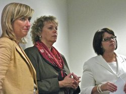 Left to right are KanCare managed care executives: Holly Benson of Centene, Laura Hopkins of Amerigroup, and Nan Thayer Kartsonis of UnitedHealthcare.