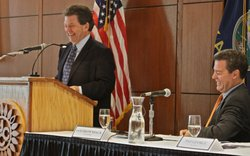 Economist Art Laffer, left, joined Gov. Sam Brownback at a meeting last August in Overland Park staged by the administration to describe the potential benefits of the income tax exemption created for about 190,000 businesses as part of the new tax law signed by the governor in May 2012. The law became effective Jan. 1 this year.