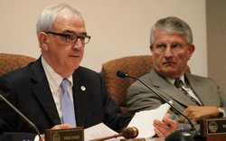 Kansas Board of Regents chair Tim Emert (left) and Andy Tompkins, Regents chief executive.