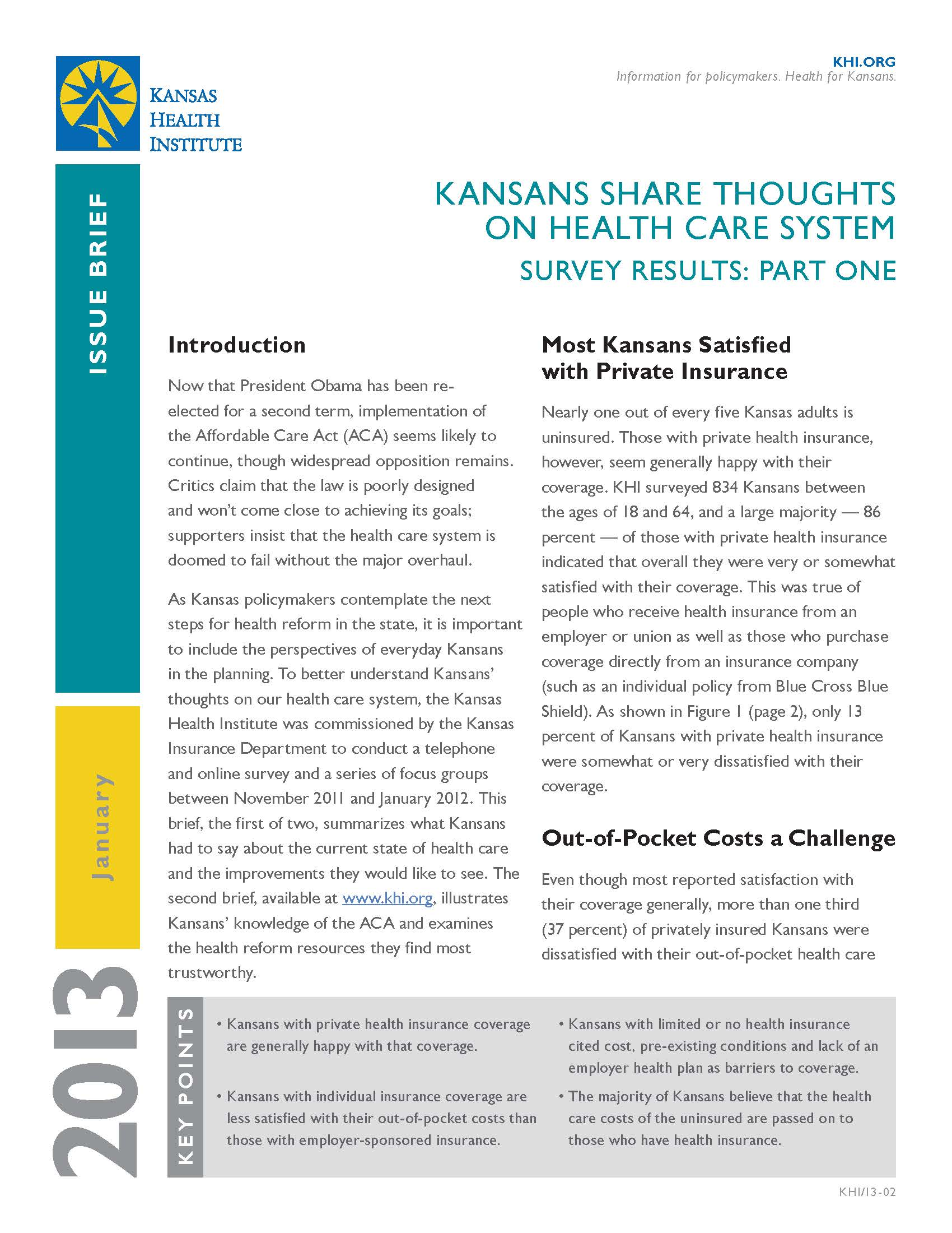 Issue Briefs: Kansans Share Thoughts on Health Care System ...