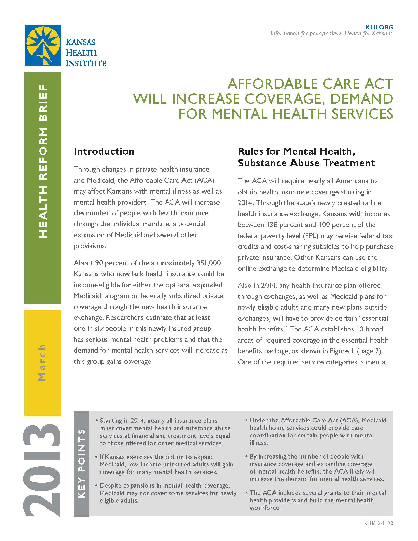 Health Reform Brief Affordable Care Act Will Increase Coverage